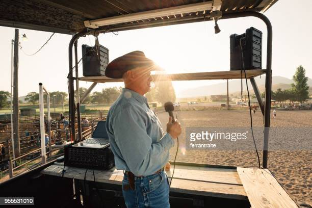 rodeo announcer - commentator stock pictures, royalty-free photos & images