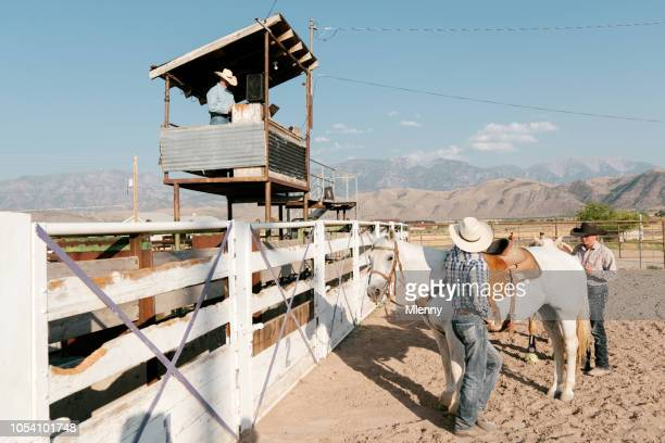 rodeo arena cowboys and rodeo commentator - commentator stock pictures, royalty-free photos & images
