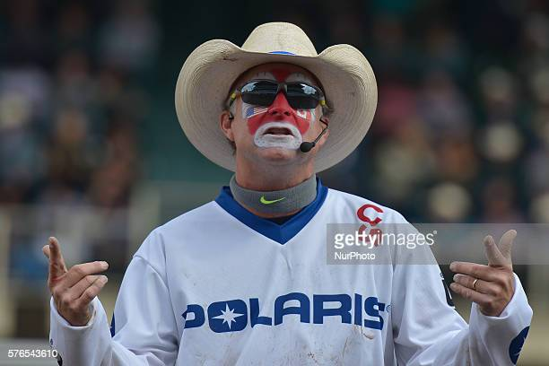 Rodeo clown entertaining the crowd during the Calgary Stampede 2016 On Thursday 14 July 2016 in Calgary Canada