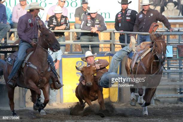 Rodeo cowboy Sean Mulligan from Coleman, OK was not able to score a time in the Steer Wrestling competition on August 24, 2017 in Bremerton WA at the...