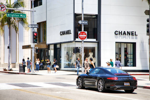 Los Angeles USA - July 1, 2017: Rodeo drive in Beverly Hills with people and stores.