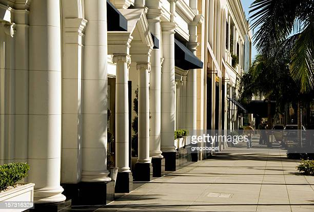 rodeo drive sidewalk - beverly hills california stock pictures, royalty-free photos & images