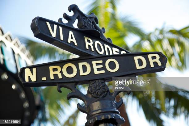 Rodeo Drive sign with palm trees in Beverly Hills