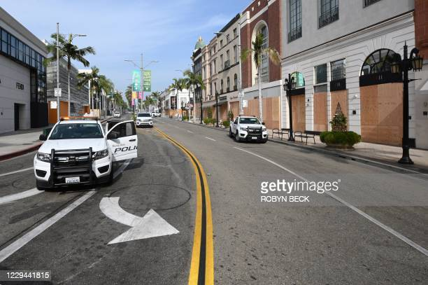 Rodeo Drive, the world renowned shopping street in Beverly Hills, California, is boarded up and closed to vehicular and pedestrian traffic on...