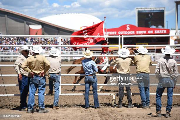Rodeo fans await the next event at the Calgary Stampede on July 7 2018 at Stampede Park in Calgary AB