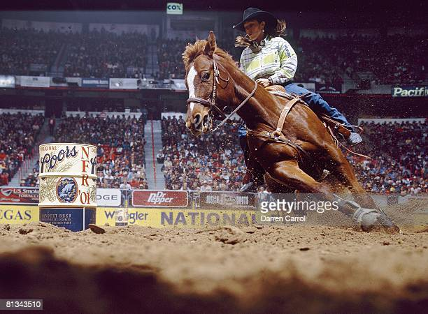 Rodeo: National Finals Rodeo, Molly Swanson-Powell in action aboard Quaker during barrel racing portion at Thomas & Mack Center, Las Vegas, NV