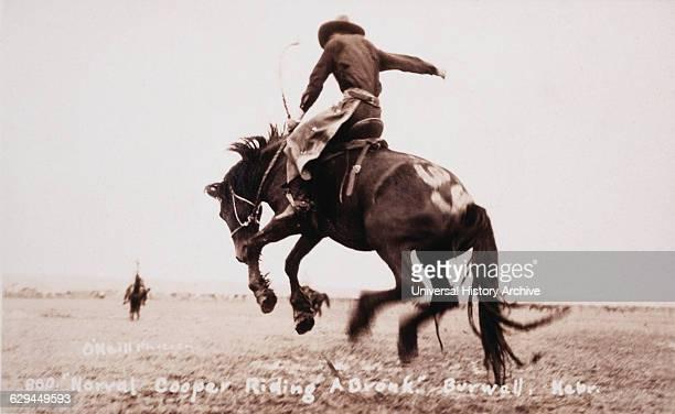Rodeo Rider Norval Cooper on Bucking Bronco Burwell Nebraska USA circa 1919