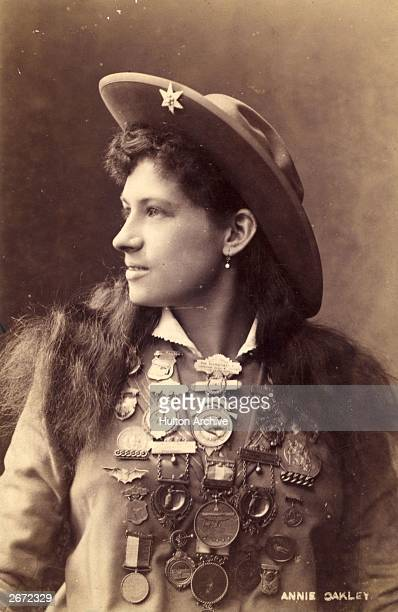 US rodeo star Annie Oakley the highly skilled trick shooter with the Buffalo Bill Wild West Show