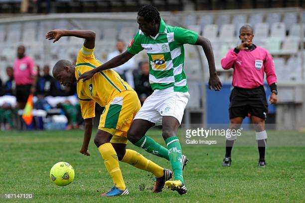 Rodereck Mutuma of Celtic and Thamsanqa Mkhize of Golden Arrows during the Absa Premiership match between Bloemfontein Celtic and Golden Arrows at...