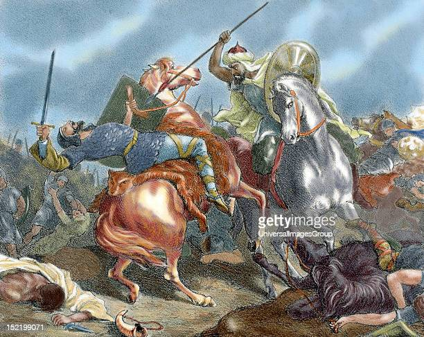Roderic Last Visigoth king of Iberia Death of Roderic by Tariq ibn Ziyad at the Battle of Guadalete Nineteenthcentury engraving Colored