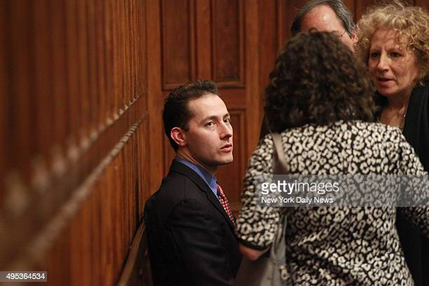 Roderick Covlin talking with his lawyers in Manhattan Supreme Court after a hearing on child visitation rights for his inlaws on Friday Covlin...