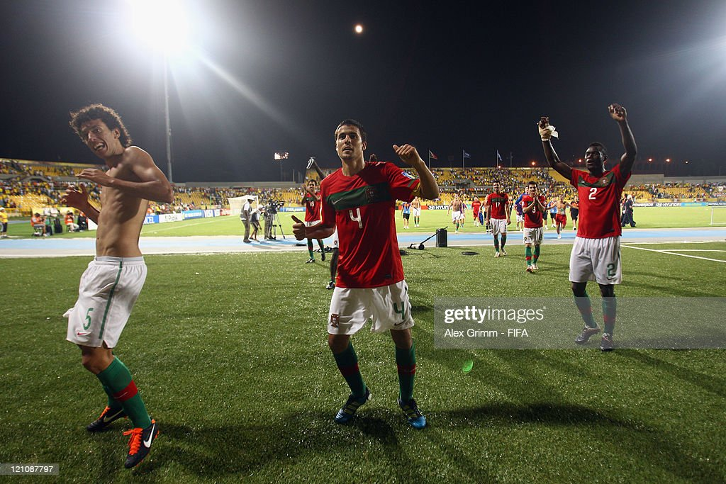 Roderick, Nuno Reis and Pele (L-R) of Portugal celebrate after the FIFA U-20 World Cup 2011 quarter final match between Portugal and Argentina at Estadia Jaime Moron Leon on August 13, 2011 in Cartagena, Colombia.