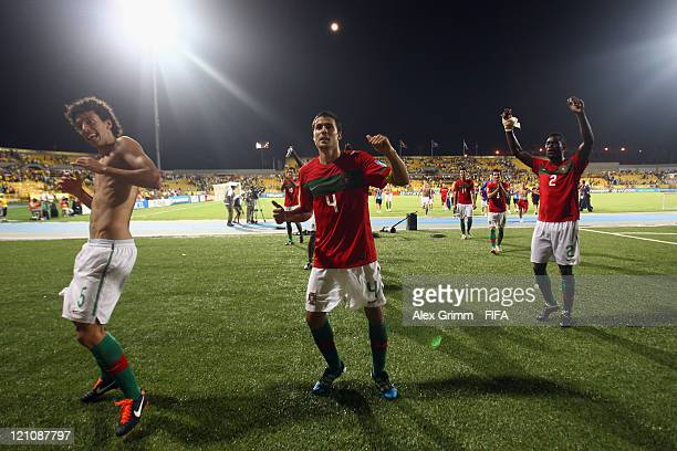 Roderick Nuno Reis and Pele of Portugal celebrate after the FIFA U20 World Cup 2011 quarter final match between Portugal and Argentina at Estadia...
