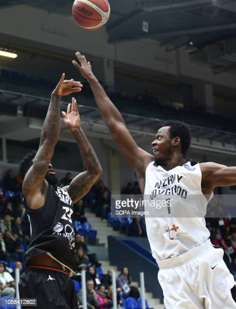 Roderick Odom and Camerlon Clark seen in action during the game. Basketball Champions League: BC Nizhny Novgorod from Russia vs Le Mans from France....