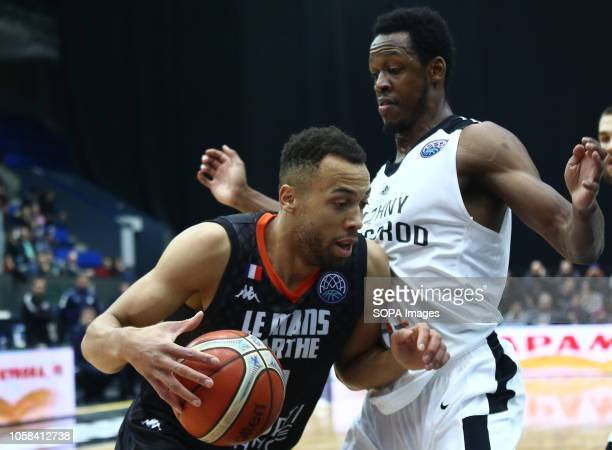 Roderick Odom and Demitrius Conger seen in action during the game. Basketball Champions League: BC Nizhny Novgorod from Russia vs Le Mans from...