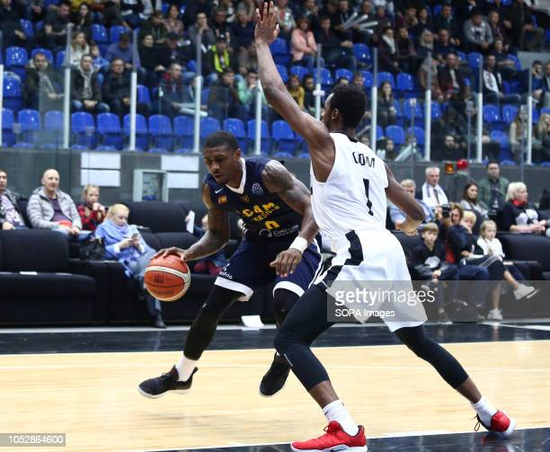 Roderick Odom and Ovie Soko seen in action during the game Basketball Champions League BC Nizhny Novgorod from Russia vs Ucam Murcia Club Baloncesto...