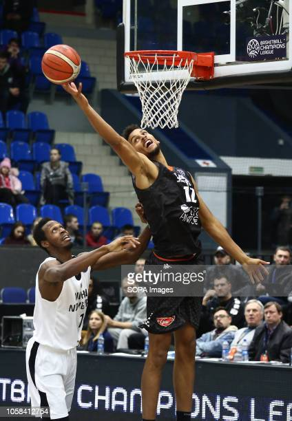 Roderick Odom and Petr Cornelie seen in action during the game Basketball Champions League BC Nizhny Novgorod from Russia vs Le Mans from France The...