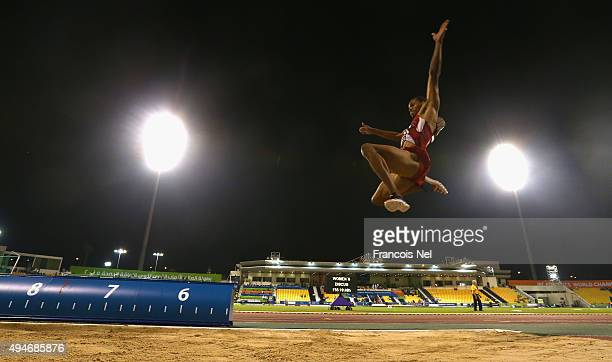 Roderick Townsend-Roberts of the United States competes in the men's long jump T47 final during the Evening Session on Day Seven of the IPC Athletics...