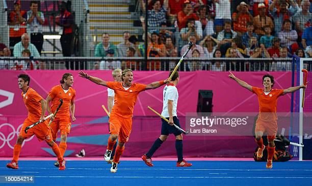 Roderick Weusthof of Netherlands celebrates scoring his team's second goal during the Men's Hockey Semi Final match between Netherlands and Great...