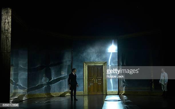 Roderick Williams as Eugene Onegin and Oleksiy Palchykov as Lensky in Garsington Opera's production of Pyotr Ilyich Tchaikovsky's Eugene Onegin...