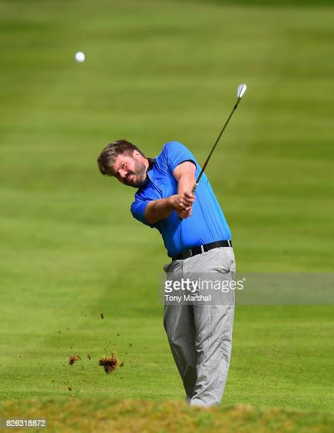 Rodger Clarke of Golf Dedication Centre plays his second shot on the 1st fairway during Day Three of the Galvin Green PGA Assistants' Championship at...