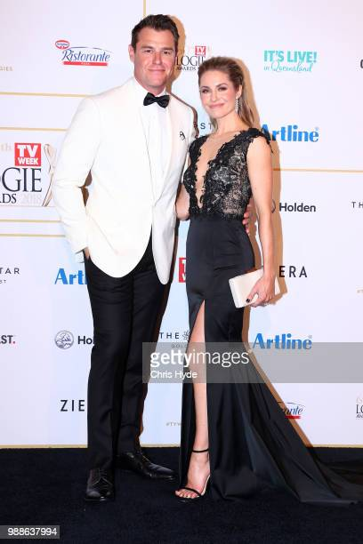 Rodger Corser and wife Renae Berry arrive at the 60th Annual Logie Awards at The Star Gold Coast on July 1 2018 in Gold Coast Australia