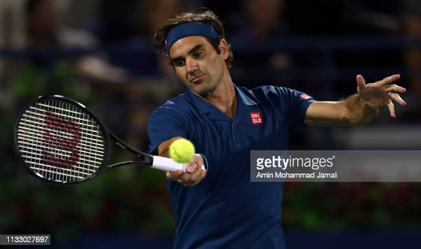 Rodger Federer of Switzerland in action during in his men's semi final against Borna Coric of Croatia match on day thirteen of the Dubai Duty Free...