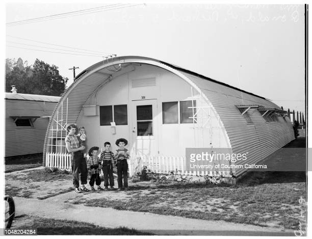 Rodger Young Village story, 01 February 1952. Mrs Alice Potter;Joyce Potter -- 3 years ;Mrs Nancy Aaron;Philip Aaron -- 11 years;Ronald Aaron -- 4...