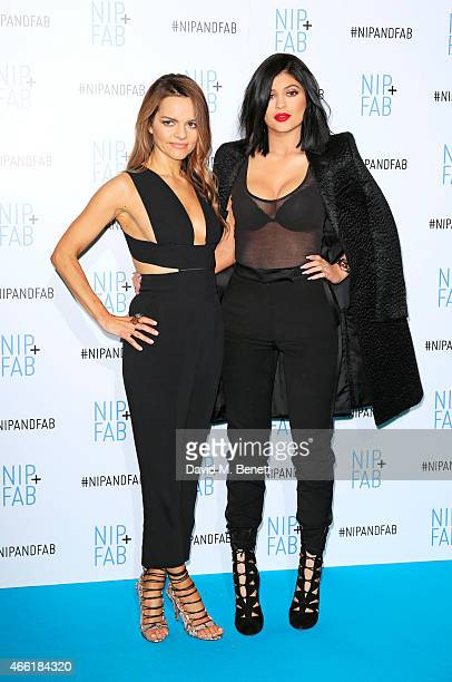 Rodial founder Maria Hatzistefanis and Kylie Jenner, ambassador for NIP+FAB, pose at a photocall for NIP+FAB at Vue Westfield on March 14, 2015 in...