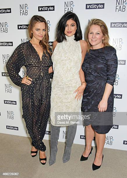 Rodial founder Maria Hatzistefanis Kylie Jenner and InStyle editor Charlotte Moore attend the NIPFAB InStyle Tea Party at The London Edition Hotel on...