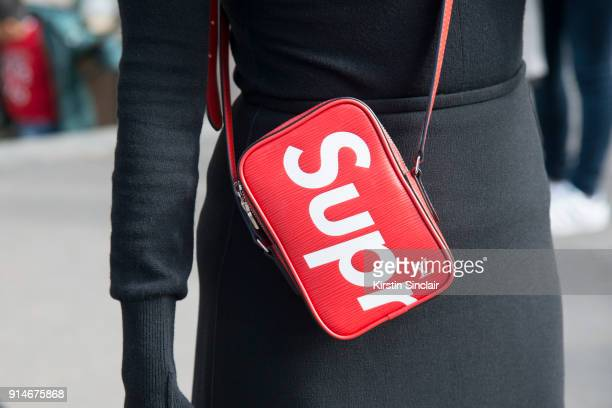 Rodial Skincare founder Maria Hatzistefanis wears a Dion Lee skirt Heron Preston top Louis Vuitton x Supreme bag day 5 of Paris Womens Fashion Week...