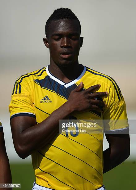 Rodin Quinones of Colombia sings his national anthem during the Toulon Tournament Group B match between Colombia and Qatar at the Stade De Lattre on...