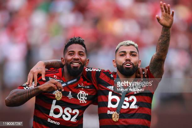 Rodinei and Gabriel Barbosa of Flamengo celebrates the victory after winning the final match of Copa CONMEBOL Libertadores 2019 between Flamengo and...