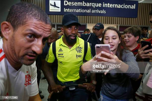 Rodinei of Flamengo team arrives after playing the FIFA Club World Cup Qatar 2019 Final Against Liverpool at Tom Jobim Internacional Airport on...