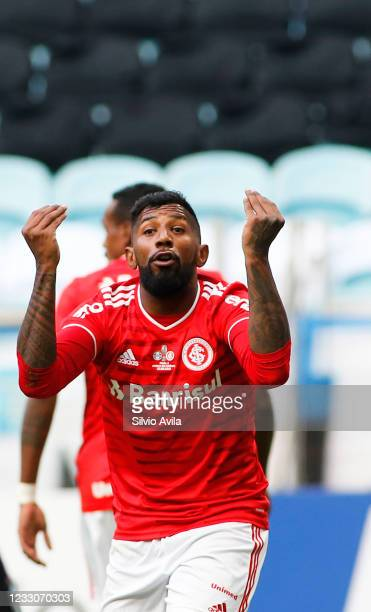 Rodinei of Internacional reacts during the final of Rio Grande Do Sul State Championship 2021 between Gremio and Internacional at Arena do Gremio on...