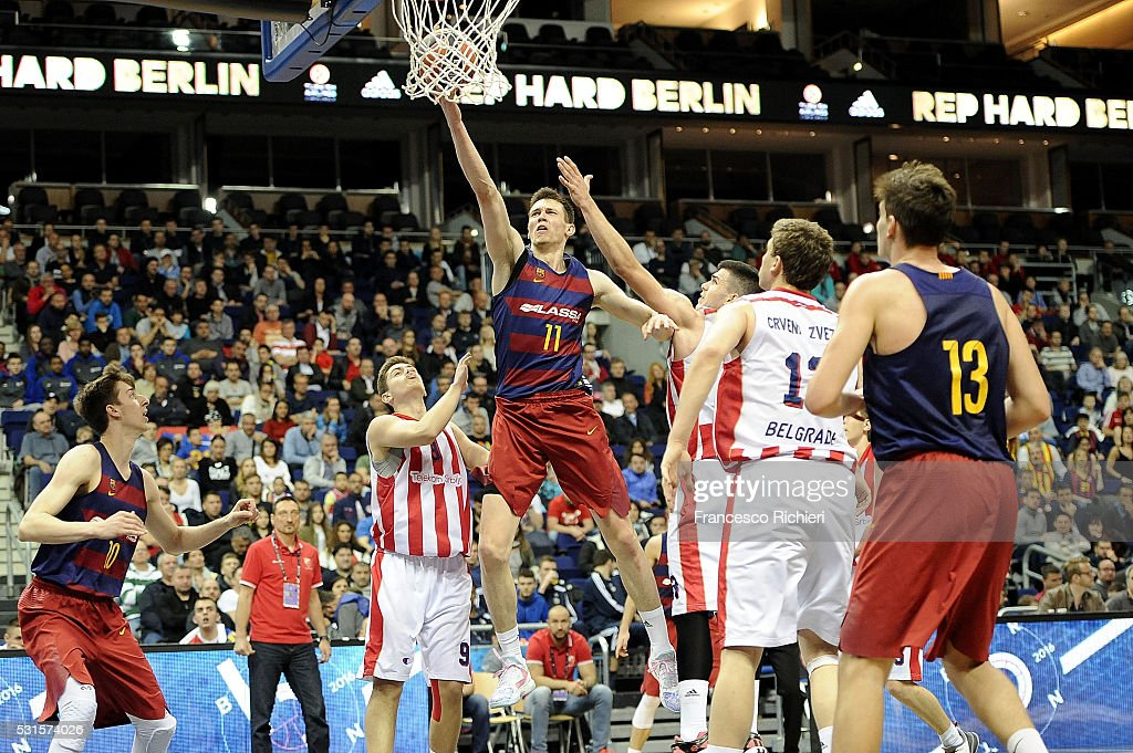 Rodions Kurucs, #11 of U18 FC Barcelona Lassa in action during the Turkish Airlines Euroleague Basketball Adidas Next Generation Tournament Championship game between U18 FC Barcelona Lassa v U18 Crvena Zvezda Telekom Belgrade at Mercedes Benz Arena on May 15, 2016 in Berlin, Germany.