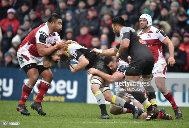 Rodney Ah You of Ulster and Jason Eaton of La Rochelle during the European Rugby Champions Cup match between Ulster Rugby and La Rochelle at Kingspan...
