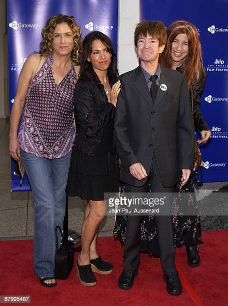 Rodney Bingenheimer with Vicki Peterson Susanna Hoffs and Michael Steele of The Bangles