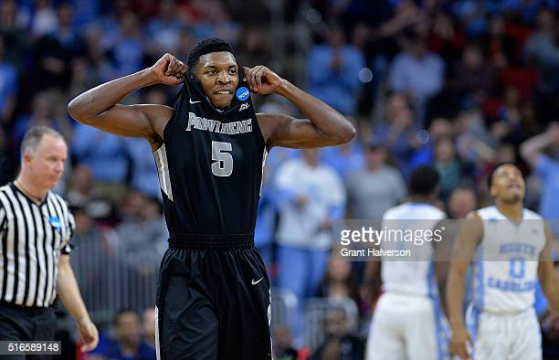 Rodney Bullock of the Providence Friars reacts after being called for a foul during thir game against the North Carolina Tar Heels in the second...