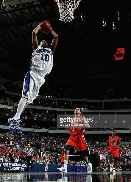 Rodney Carney of the Memphis Tigers goes up for the alley-oop dunk during the Second Round game against the Bucknell Bison in the 2006 NCAA Division...