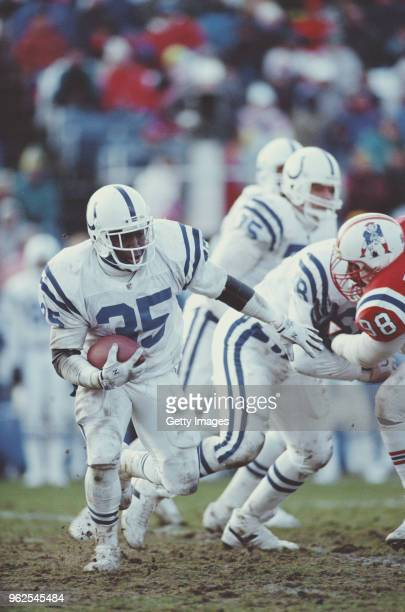 Rodney Culver Running Back for the Indianapolis Colts runs the ball during the National Football League AFC East Division game against the New...