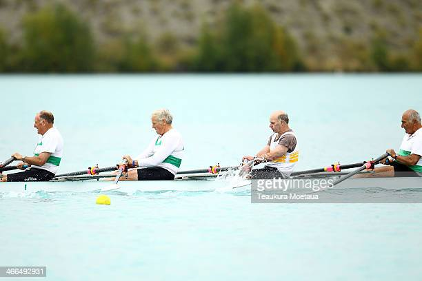 Rodney Dobson John Wilson Lloyd Blakie Ian Woodward and Kelle Shearing of Riverton compete in the Mens masters coxed quadruple sculls during the...