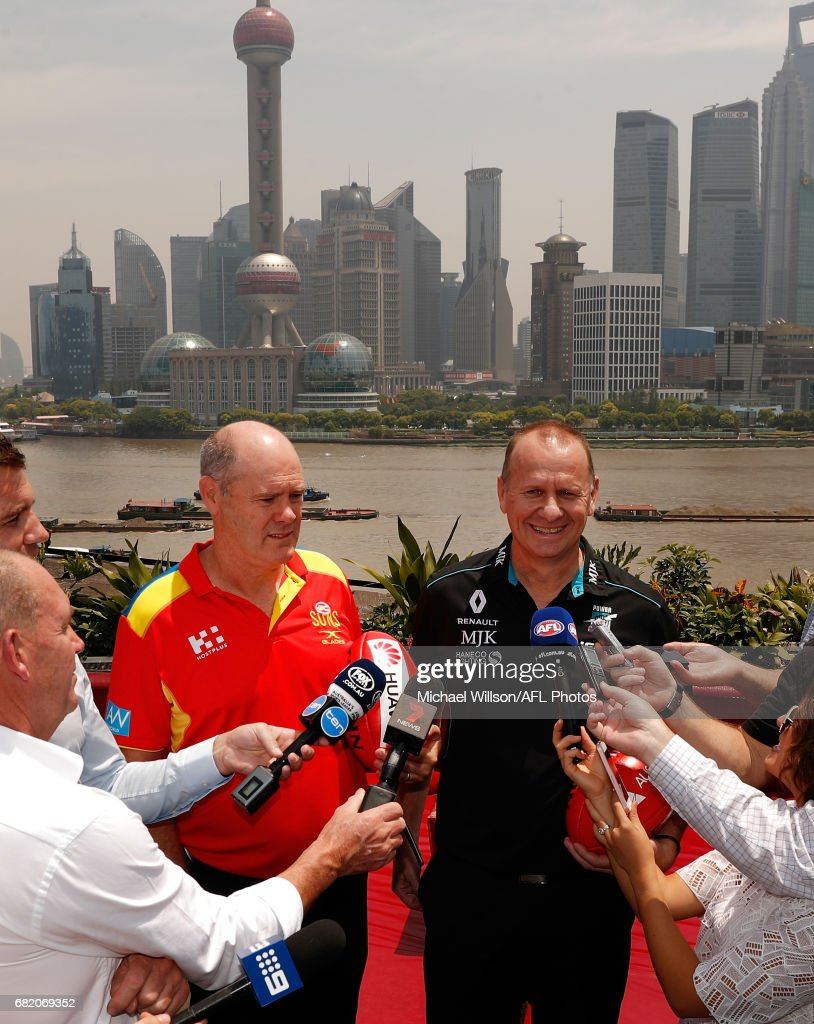 Rodney Eade, Senior Coach of the Suns (left) and Ken Hinkley, Senior Coach of the Power address the media during the Port Adelaide Power and Gold Coast Suns joint Captain and Coach press conference at Bar Rouge overlooking The Bund on May 11, 2017 in Shanghai, China.