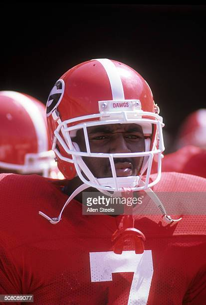 Rodney Hampton of the Georgia Bulldogs looks on before the game against the Baylor Bears on September 16 1989 at Sanford Stadium in Athens Georgia...