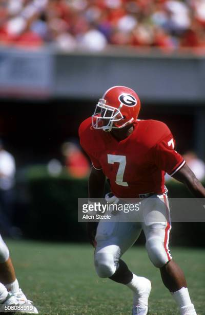 Rodney Hampton of the Georgia Bulldogs runs on the field during the game against the Baylor Bears on September 16, 1989 at Sanford Stadium in Athens,...