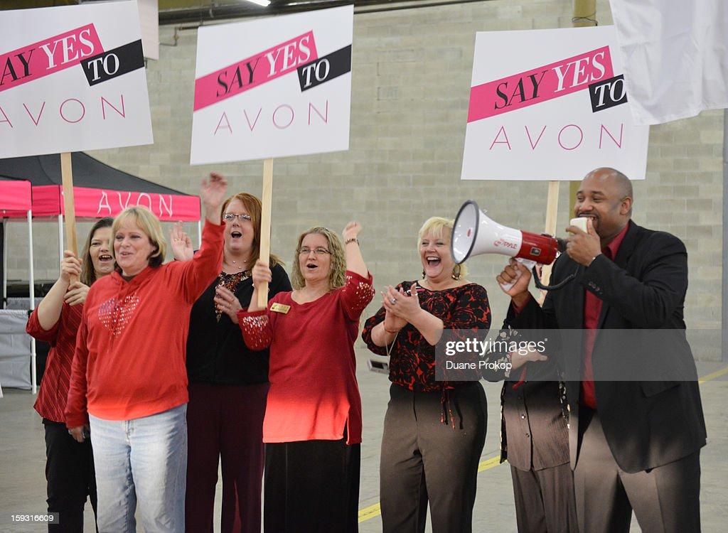 Rodney Harden and Representatives cheer as Avon Kicks off the SAY YES TO AVON BEAUTY on January 11, 2013 in Columbus, Ohio.