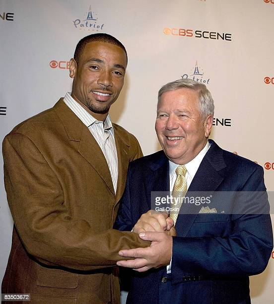Rodney Harrison of the New England Patriots and Chairman and CEO of the Kraft Group Robert Kraft attends the grand opening of the CBS Scene...