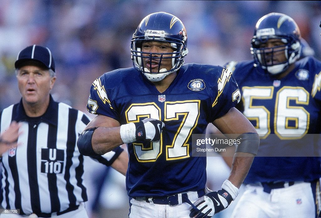 Rodney Harrison #37 of the San Diego Chargers reacts to the call during the game against the Miami Dolphins on November 12, 2000 at the Qualcomm Stadium in San Diego, California. The Dolphins defeated the Chargers 17-7.