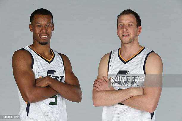 Rodney Hood and Joe Ingles of the Utah Jazz poses for a photo during the 20162017 Utah Jazz media day at Zions Bank Basketball Center on September 26...
