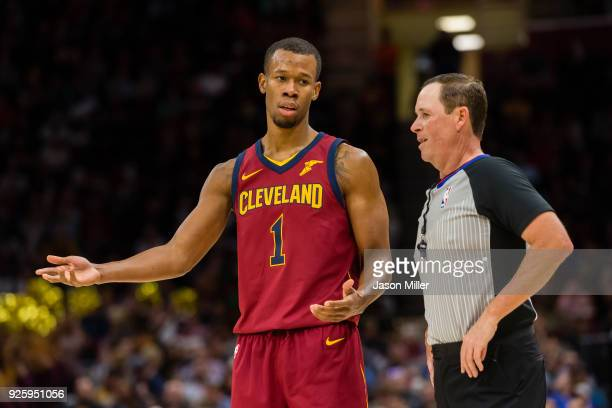 Rodney Hood of the Cleveland Cavaliers argues a call with referee Matt Boland during the second half against the Brooklyn Nets at Quicken Loans Arena...